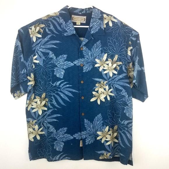 a8e62f278 Jamaica Jaxx Other - Jamaica Jaxx Hawaiian Floral 100% Silk Shirt Blue